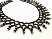 Netted Beadwork Necklace Jewellery Making Kit with SWAROVSKI® ELEMENTS Black & silver